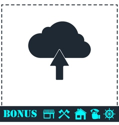 Upload cloud icon flat vector
