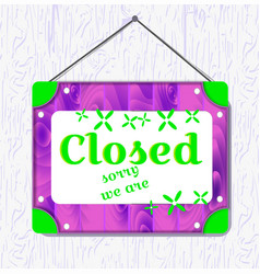 violet wood and green flower hanging sign with vector image