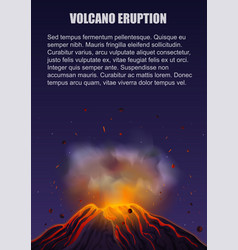 Volcano eruption with lava poster concept vector
