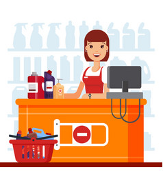 Woman cashier in supermarket with household vector