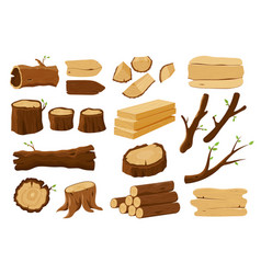 wooden elements lumber wood logs and tree trunks vector image
