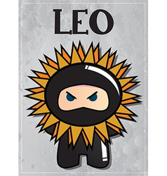 Zodiac sign Leo with cute black ninja character vector image