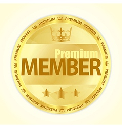 Badge with title Premium member in gold color vector image