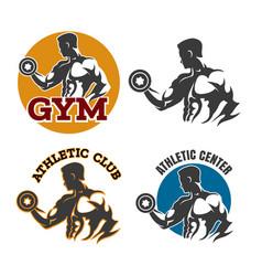 gym or fitness emblem set vector image vector image