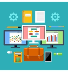 Management tools with digital devices concept vector image vector image