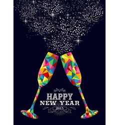 New year 2015 color glass greeting card vector image vector image