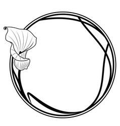 round frame with lily vector image