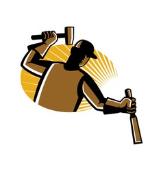Carpenter worker with hammer and chisel vector