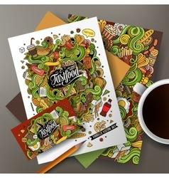 Cartoon cute hand drawn doodles Fast Food vector image vector image