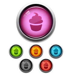 cupcake button icon vector image vector image