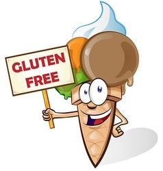 Ice cream cartoon with gluten free signboard vector