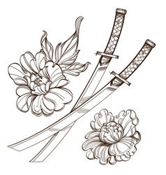 contour image of katanas and peonies black and vector image vector image