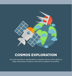 cosmos exploration advertisement banner with earth vector image vector image
