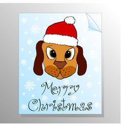 greeting card with cute puppy in red hat vector image vector image
