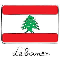 Lebanon flag doodle vector image vector image