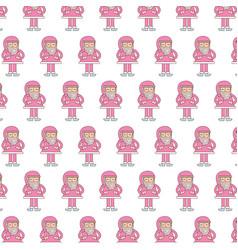 seamless pattern christmas pink santa claus vector image