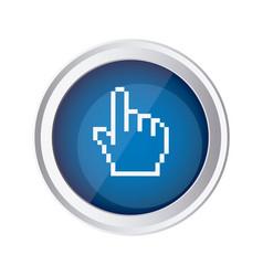 blue emblem mouse hand cursor icon vector image vector image