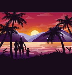 family silhouette with vector image