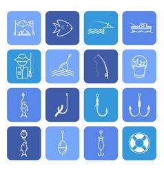 fishing thin line icons set vector image