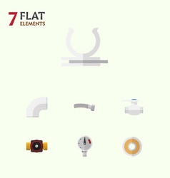 flat icon plumbing set of pressure tap roll and vector image vector image