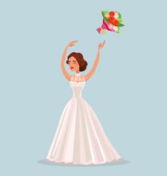 happy woman bride character throwing bouquet vector image