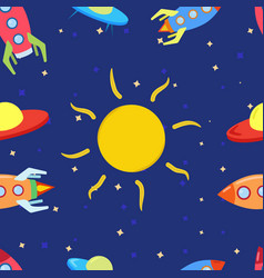 pattern for children with space rockets sun stars vector image