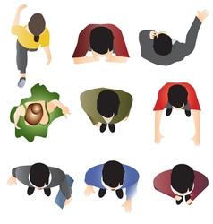 people standing top view set 10 vector image