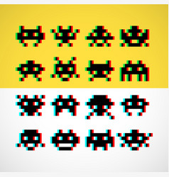 Pixel little retro monsters with screen distortion vector