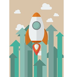 Rocket flying into the sky against growing up vector image