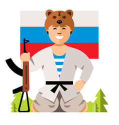 Russian soldier humor concept flat style vector