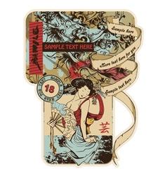 vintage japanese label vector image vector image