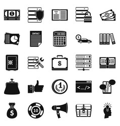 wildcatter icons set simple style vector image
