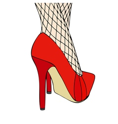 A woman in elegant red shoes and fishnet stockings vector