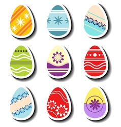 Abstract Easter egg sticker set vector image