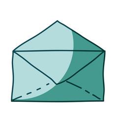 aquamarine hand drawn silhouette of envelope vector image