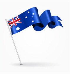 Australian pin wavy flag vector