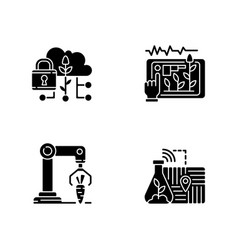 Automation agronomy black glyph icons set vector