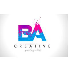 Ba b a letter logo with shattered broken blue vector
