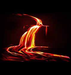 Background with lava river volcano vector