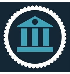 Bank flat blue and white colors round stamp icon vector