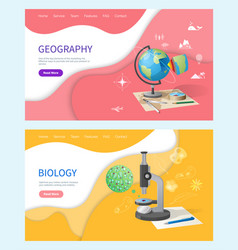 Biology discipline in school geography subject vector