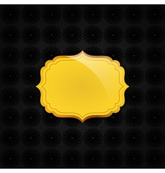 Black abstract texture and golden badge vector image