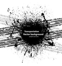 Black grunge ink blots tire track vector image