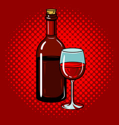 bottle of wine with glass pop art vector image