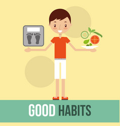 Boy with weight sale and vegetable good habits vector
