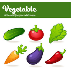 cartoon vegetables mobile game asset vector image