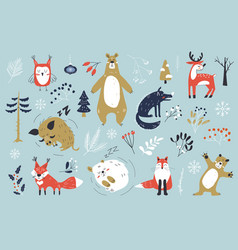 Christmas set with cute animals winter characters vector