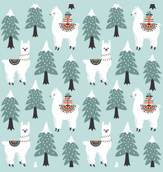 Christmas tree and cute lama with gift boxes vector