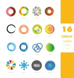 Circle business logo icon set vector