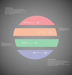 Circle infographic template horizontally divided vector